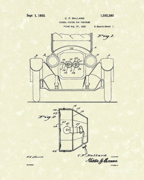 Vehicle Drawing - Turn Signals 1925 Patent Art by Prior Art Design