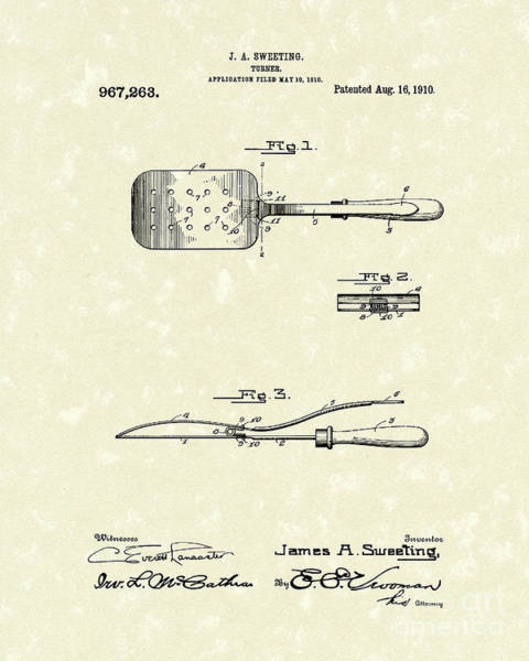 Drawing - Turner 1910 Patent Art by Prior Art Design
