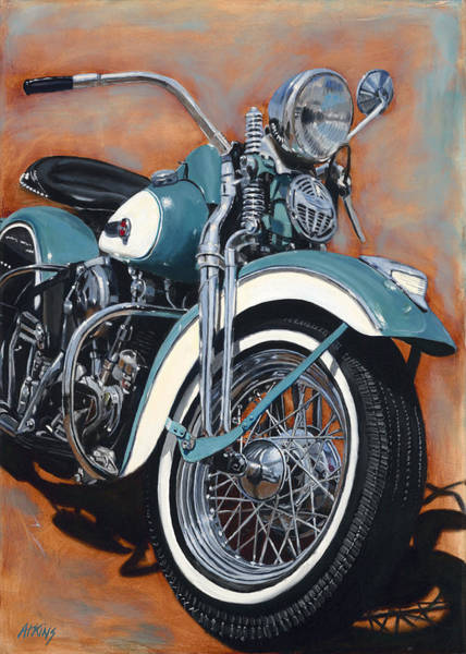 Knucklehead Wall Art - Painting - Turquoise 47  by Jack Atkins