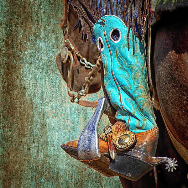 Cowboy Horse Photograph - Turquoise Boot by Susan Kordish