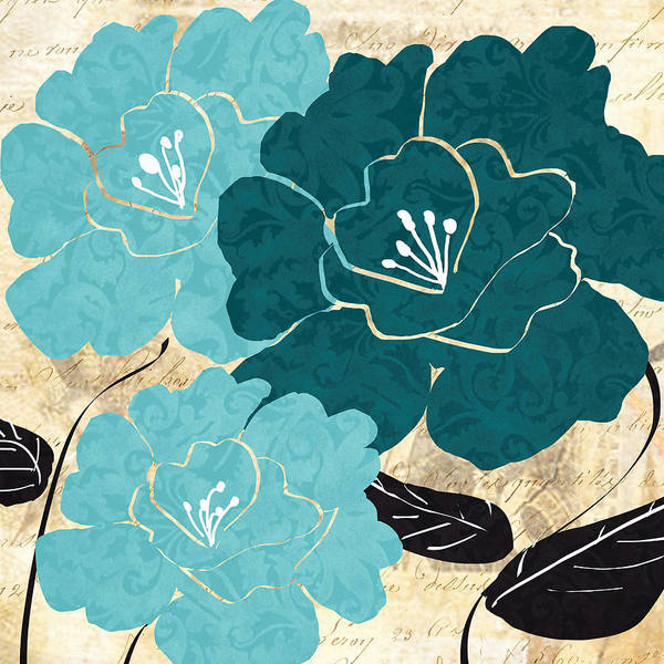Bathroom Wall Art - Painting - Turquoise Flowers by Lourry Legarde
