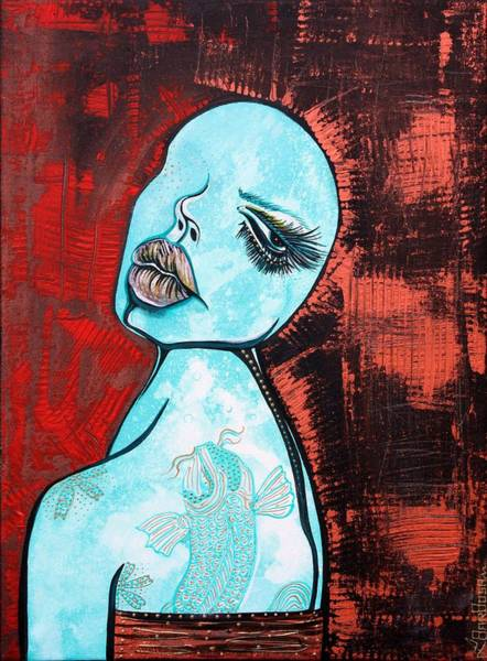 Wall Art - Painting - Turquoise Girl by Laura Barbosa