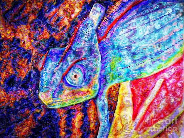 turquoise  lizard basking in the rays of Tonatiuh Art Print