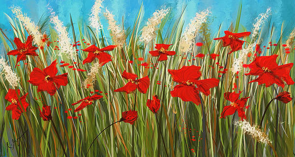 Painting - Turquoise Poppies - Red And Turquoise Art by Lourry Legarde