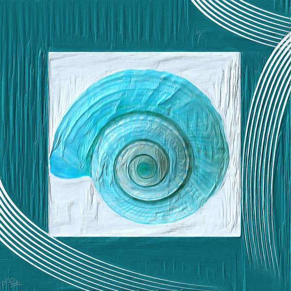 Cottage Style Wall Art - Painting - Turquoise Seashells Xvii by Lourry Legarde