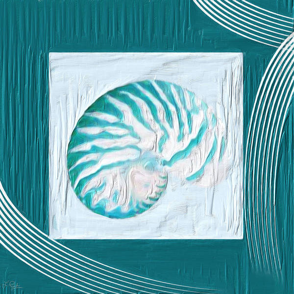 Cottage Style Wall Art - Painting - Turquoise Seashells Xxi by Lourry Legarde