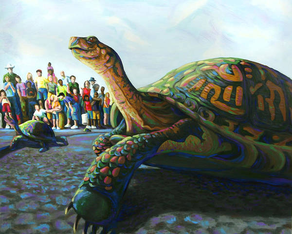 County Fair Painting - Turtle Race by Lena Quagliato