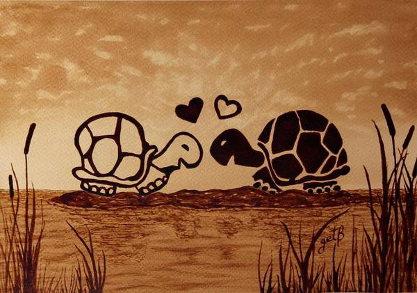 Turtles Love Coffee Painting Art Print