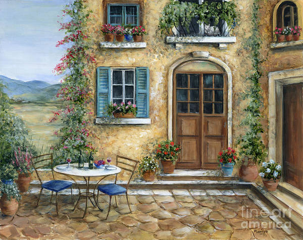 Wall Art - Painting - Tuscan Courtyard With Cat by Marilyn Dunlap