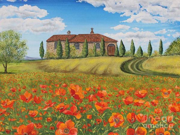 Tuscan Painting - Tuscan Poppies-a by Jean Plout