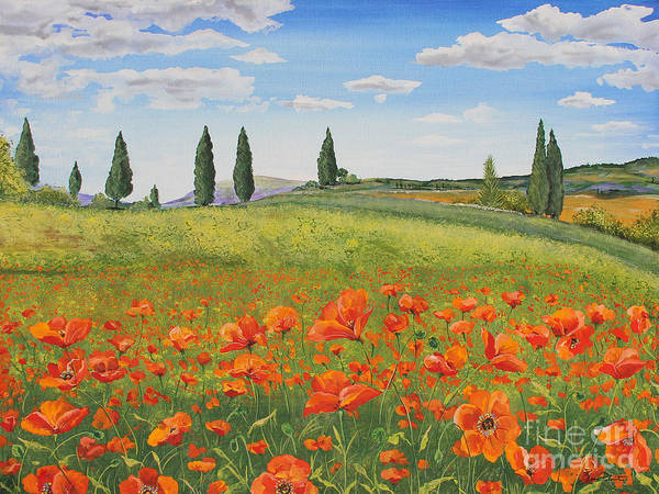 Tuscan Painting - Tuscan Poppies-b by Jean Plout