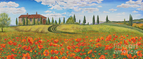 Tuscan Painting - Tuscan Poppies-jp1968 by Jean Plout