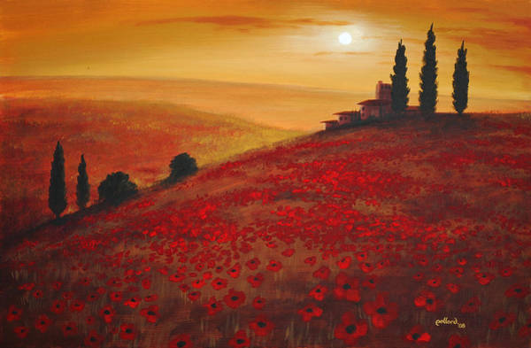 Painting - Tuscan Sunset by Glenn Pollard