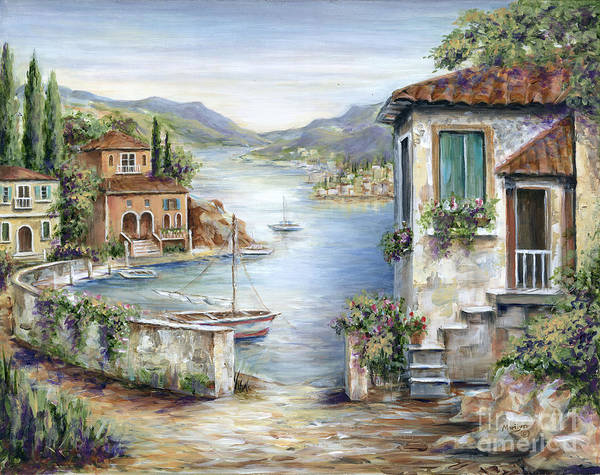 Fishing Boat Painting - Tuscan Villas By The Lake by Marilyn Dunlap