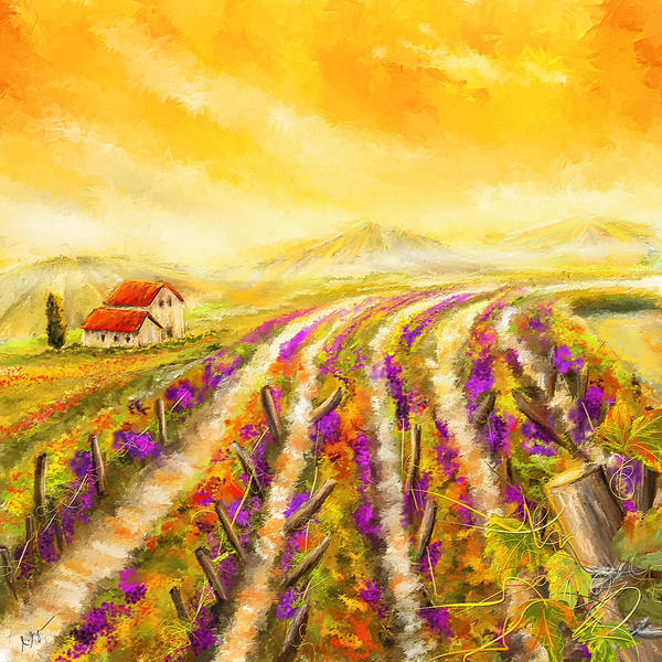 Bread And Wine Painting - Tuscan Vineyard Sunset - Vineyard Impressionist Paintings by Lourry Legarde