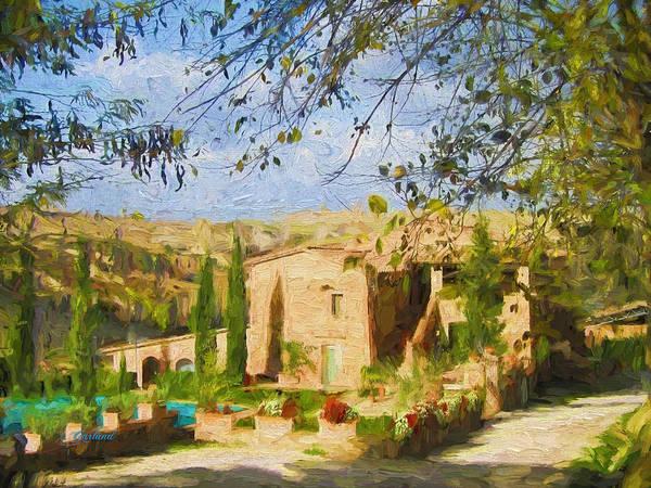 Swimming Pool Mixed Media - Tuscany Home by Garland Johnson