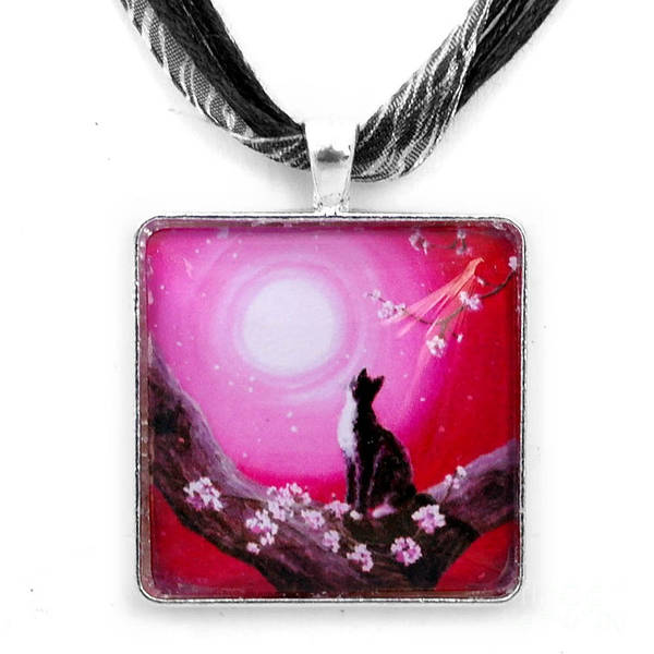 Handmade Wall Art - Jewelry - Tuxedo Cat In Cherry Blossoms Pendant by Laura Iverson