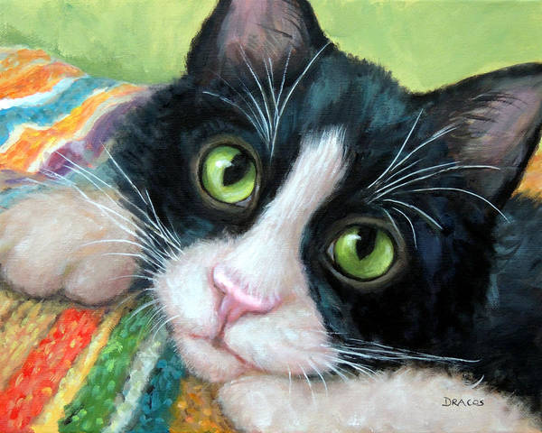 Tuxedo Cat Painting - Tuxedo Cat With Blankie by Dottie Dracos