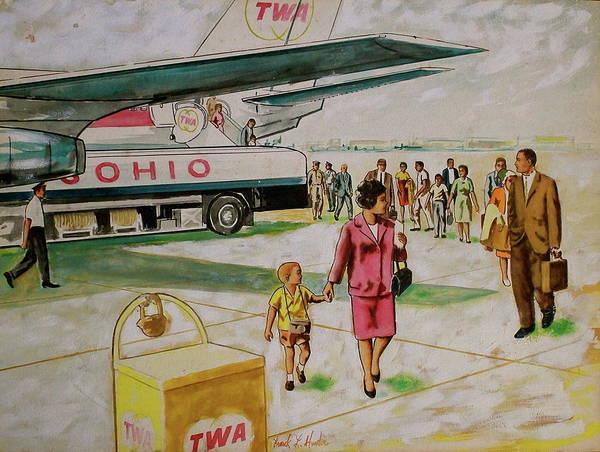 Painting - Twa 707 Deplaning At Columbus by Frank Hunter