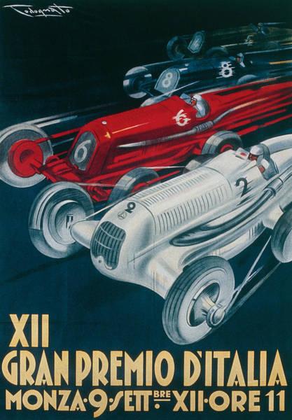 Race Car Painting - Twelfth Italian Grand Prix At Monza by Plinio Codognato