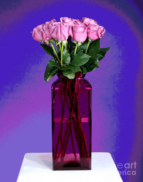 Photograph - Twelve Pink Roses In Pink Vase by Larry Oskin