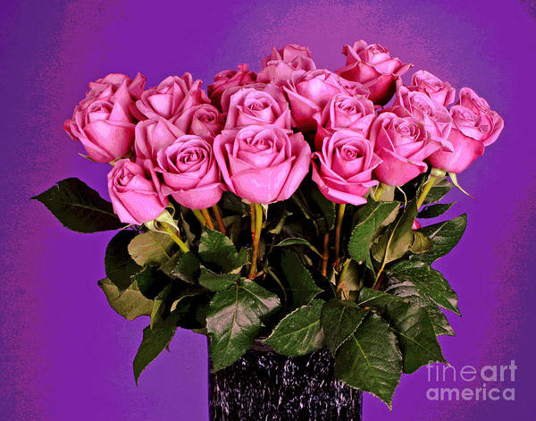Photograph - Twenty-one Pink Roses In Black Vase by Larry Oskin