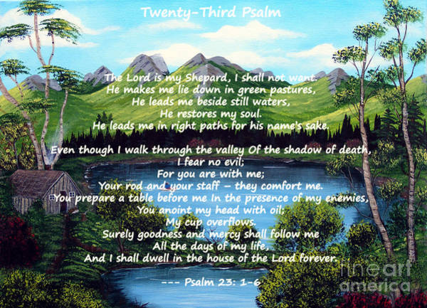 Overflow Painting - Twenty-third Psalm On Twin Ponds by Barbara Griffin