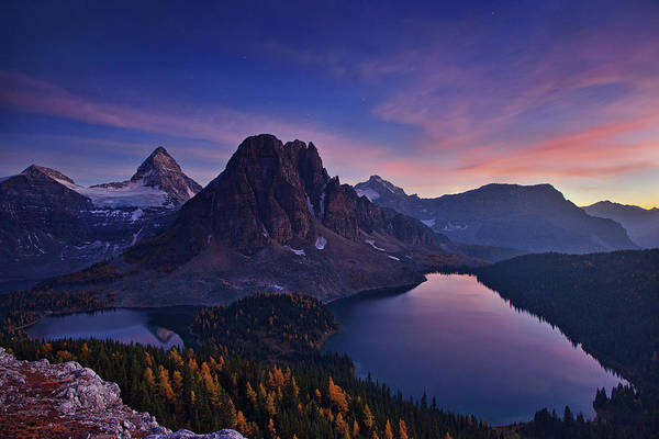 Mounted Photograph - Twilight At Mount Assiniboine by Yan Zhang