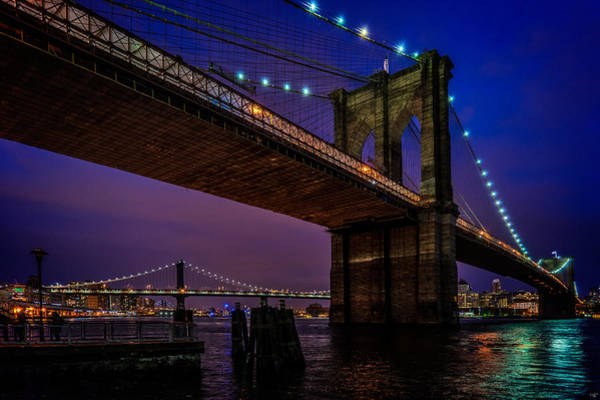 Photograph - Twilight At The Brooklyn Bridge by Chris Lord