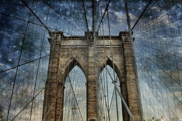 Photograph - Twilight At The Brooklyn Bridge by Evie Carrier