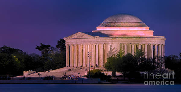 Federal Triangle Wall Art - Photograph - Twilight At The Jefferson Memorial by Jerry Fornarotto