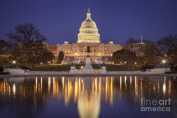 Art Print featuring the photograph Twilight At Us Capitol by Brian Jannsen