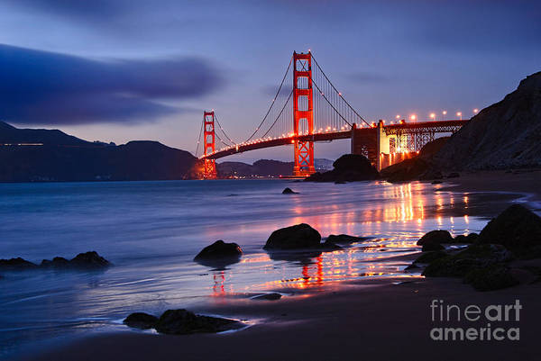 Shutter Photograph - Twilight - Beautiful Sunset View Of The Golden Gate Bridge From Marshalls Beach. by Jamie Pham
