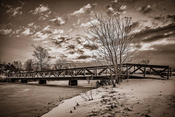 Photograph - Twilight Bridge Over An Icy Pond - Bw by Chris Bordeleau