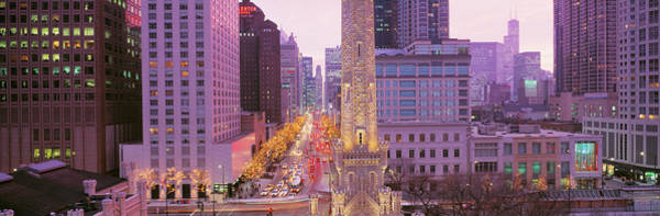 Michigan Ave Photograph - Twilight, Downtown, City Scene, Loop by Panoramic Images