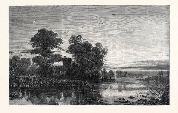 Twilight Drawing - Twilight, From The Exhibition Of The Society Of Painters by Jackson, Samuel Phillips (1830-1904), British