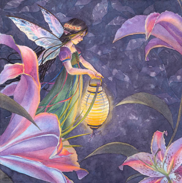 Lamps Painting - Twilight Lilies by Sara Burrier