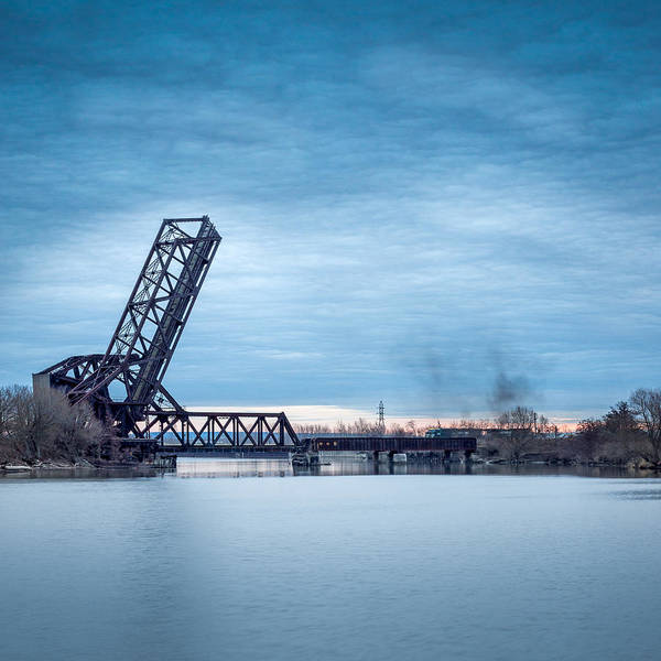 Wny Wall Art - Photograph - Twilight Locomotive Crossing Buffalo River by Chris Bordeleau