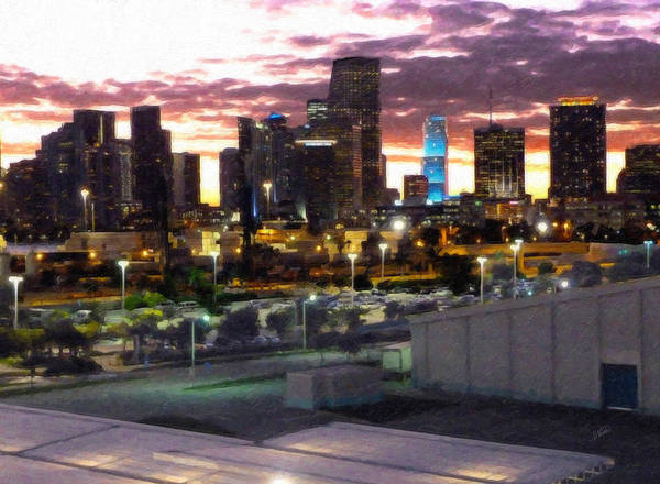 Painting - Twilight Miami Skyline As Seen From Port by Dean Wittle