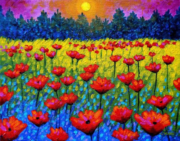 Atmospheric Painting - Twilight Poppies by John  Nolan