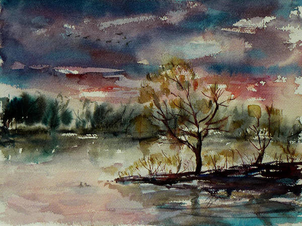 Painting - Twilight Serenade II by Xueling Zou