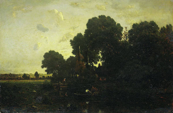 Twilight Drawing - Twilight, Théodore Rousseau by Litz Collection