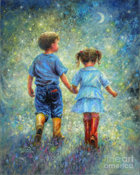 Brother And Sister Wall Art - Painting - Twilight Walk by Vickie Wade