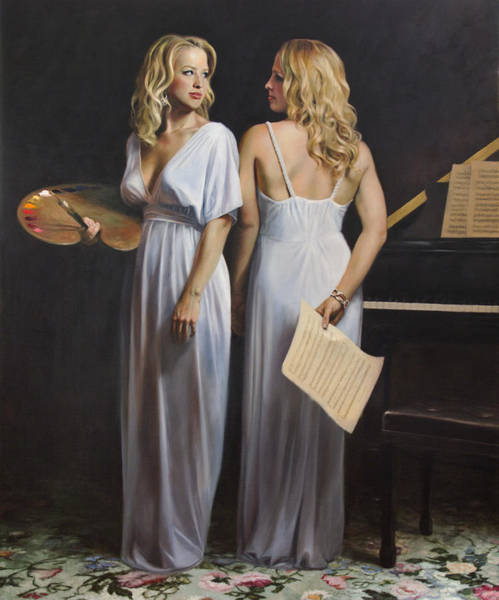 Figurative Wall Art - Painting - Twin Arts by Anna Rose Bain
