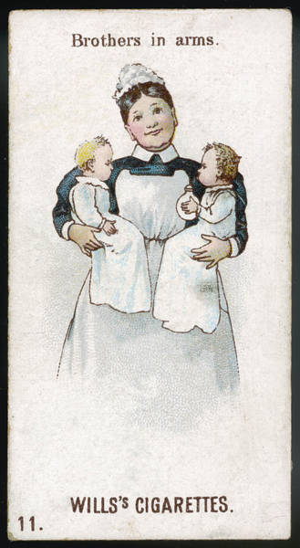 Wall Art - Drawing - Twin Babies With Their Nanny -- by Mary Evans Picture Library