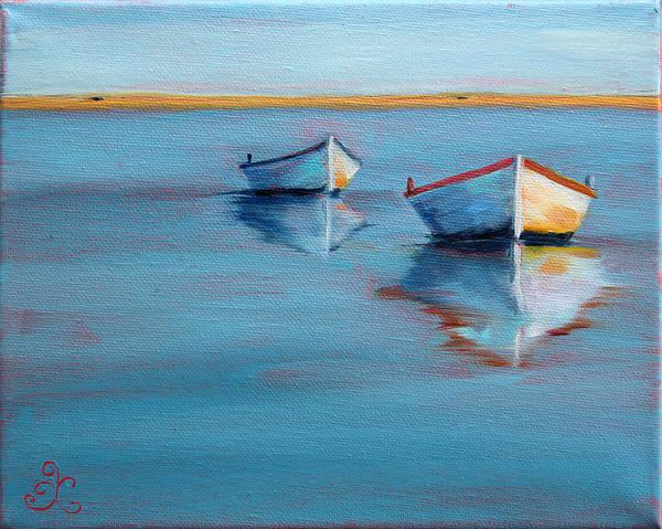 Twin Boats II Art Print