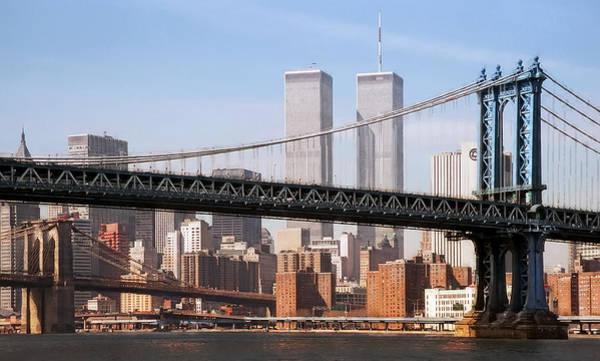 Commuter Rail Wall Art - Digital Art - Twin Bridges Twin Towers - New York by Daniel Hagerman
