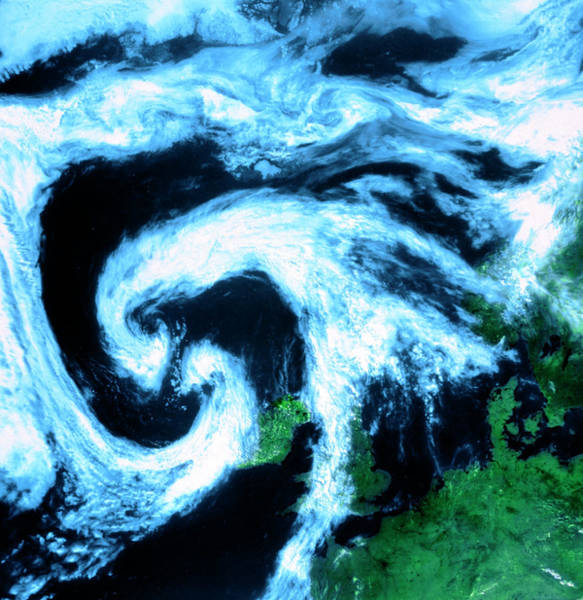 Cyclone Wall Art - Photograph - Twin Cloud Swirls Near Depression North West Europe by University Of Dundee/science Photo Library