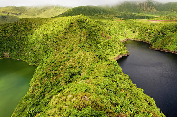 Flores Photograph - Twin Crater Lakes Of Caldeira Funda by Paul Bernhardt
