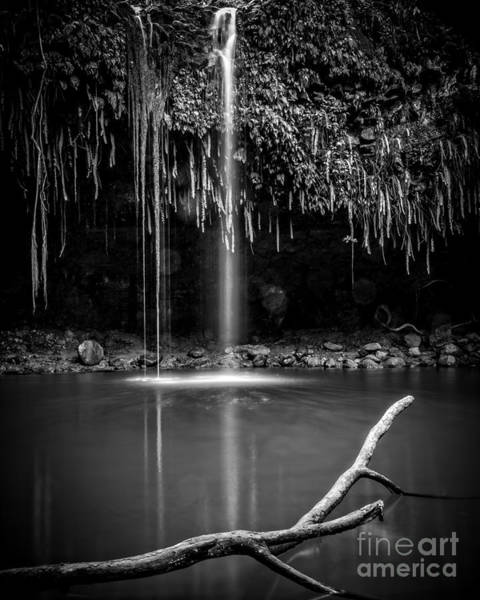 Photograph - Twin Falls Hana Highway Maui Hawaii Black And White by Edward Fielding